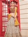 image of Art Silk Cream Wedding Wear 3 Piece Lehenga Choli With Embroidery Work
