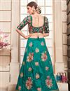 photo of Embroidered Teal Art Silk Festive Wear Lehenga With Embroidery Work