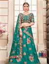image of Embroidered Teal Art Silk Festive Wear Lehenga With Embroidery Work