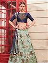 image of Sea Green Color Art Silk Fabric Festive Wear Lehenga With Embroidery Work