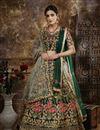 image of Traditional Wear Dark Green Taffeta Fabric Embroidered Designer Lehenga Choli