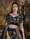 photo of Traditional Wear Navy Blue Art Silk Embroidered Designer Lehenga Choli