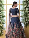 photo of Embroidered Art Silk Fabric Bridal Lehenga In Navy Blue Color with Designer Choli