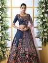 image of Embroidered Art Silk Fabric Bridal Lehenga In Navy Blue Color with Designer Choli