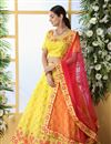 image of Yellow Color Wedding Wear 3 Piece Lehenga In Art Silk Fabric With Embroidery Work