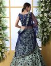 photo of Light Cyan Color Art Silk Fabric Wedding Wear 3 Piece Lehenga Choli With Embroidery Work