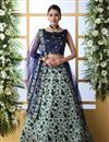 image of Light Cyan Color Art Silk Fabric Wedding Wear 3 Piece Lehenga Choli With Embroidery Work
