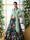 image of Embroidered Wedding Wear Lehenga Choli In Art Silk Fabric Teal Color
