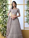 image of Dark Beige Color Function Wear Designer Embroidered Lehenga In Georgette Fabric