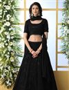 image of Black Color Function Wear Georgette Fabric Embroidered Designer Lehenga