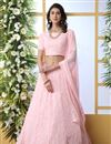 image of Pink Color Function Wear Georgette Fabric Embroidered Designer Lehenga