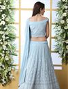 photo of Eid Special Function Wear Georgette Fabric Embroidered Light Cyan Color Designer Lehenga Choli