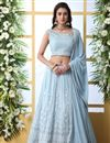 image of Eid Special Function Wear Georgette Fabric Embroidered Light Cyan Color Designer Lehenga Choli