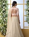 photo of Georgette Fabric Function Wear Designer Embroidered Beige Color Lehenga