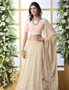 image of Georgette Fabric Function Wear Designer Embroidered Beige Color Lehenga