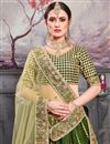 photo of Eid Special Embroidered Green Color Sangeet Wear Designer Lehenga In Art Silk