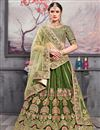 image of Eid Special Embroidered Green Color Sangeet Wear Designer Lehenga In Art Silk
