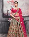 image of Eid Special Art Silk Fabric Function Wear 3 Piece Lehenga Choli In Teal With Embroidery Work