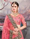 photo of Pink Banarasi Silk Fabric Designer 3 Piece Lehenga Choli With Embroidery Designs
