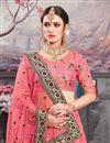 photo of Pink Banarasi Silk Fabric Designer 3 Piece Lehenga Choli With Embroidery Designs