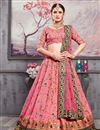 image of Function Wear Embroidered 3 Piece Lehenga Choli In Pink Banarasi Silk Fabric