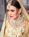 photo of Beige Embroidered Art Silk Party Style Designer Lehenga