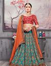 image of Embroidered Sky Blue Sangeet Wear Designer Lehenga In Banarasi Silk Fabric
