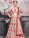 image of Eid Special Pink Color Embroidered Art Silk Fabric Party Style Designer Lehenga