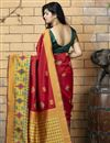 photo of Red Color Art Silk Fabric Occasion Wear Fancy Saree