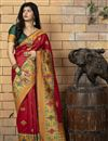image of Red Color Art Silk Fabric Occasion Wear Fancy Saree