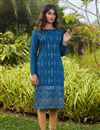 image of Casual Wear Blue Color Cotton Fabric Kurti
