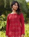 photo of Red Color Casual Wear Stylish Cotton Fabric Kurti