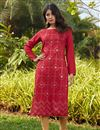 image of Red Color Casual Wear Stylish Cotton Fabric Kurti