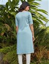 picture of Cotton Fabric Light Cyan Color Daily Wear Simple Kurti