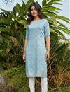 image of Cotton Fabric Light Cyan Color Daily Wear Simple Kurti