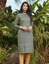 image of Grey Color Casual Wear Stylish Cotton Fabric Kurti