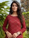 photo of Cotton Fabric Maroon Color Simple Fancy Work Casual Wear Kurti