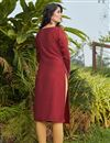 picture of Cotton Fabric Maroon Color Simple Fancy Work Casual Wear Kurti
