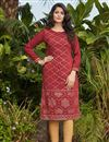 image of Cotton Fabric Maroon Color Simple Fancy Work Casual Wear Kurti