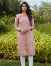 image of Casual Wear Pink Color Cotton Fabric Kurti