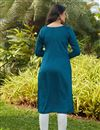 picture of Teal Color Daily Wear Kurti In Cotton Fabric