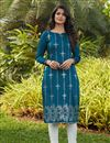 image of Teal Color Daily Wear Kurti In Cotton Fabric