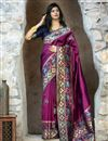 image of Purple Color Party Wear Art Silk Fancy Patola Weaving Work Saree