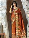 image of Art Silk Party Wear Fancy Patola Weaving Work Saree In Orange Color