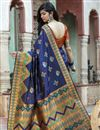 photo of Party Wear Navy Blue Color Fancy Art Silk Patola Weaving Work Saree