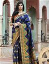 image of Party Wear Navy Blue Color Fancy Art Silk Patola Weaving Work Saree