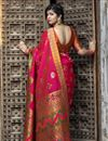 photo of Party Wear Art Silk Fancy Patola Weaving Work Saree In Rani Color