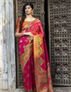 image of Party Wear Art Silk Fancy Patola Weaving Work Saree In Rani Color