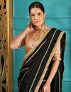 photo of Black Party Style Designer Embroidered Saree In Art Silk