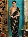 image of Black Party Style Designer Embroidered Saree In Art Silk